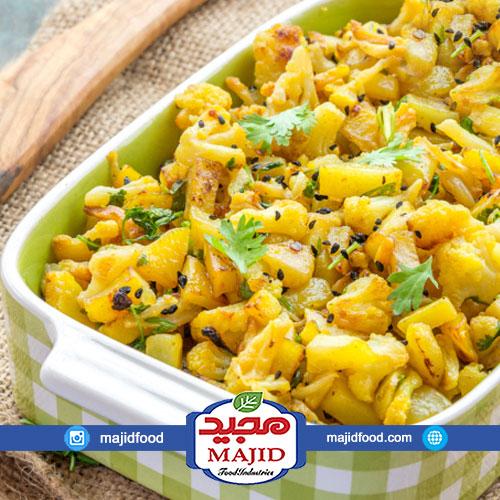 خوراک گل کلم و سیب زمینی هندی